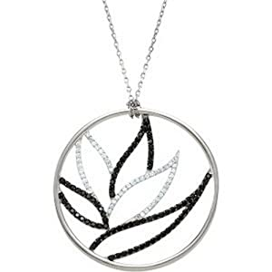 IceCarats Designer Jewelry Sterling Silver Black Spinel And Diamond Necklace Or Pendant