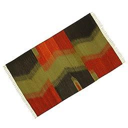 Abstract Pattern Jute Cotton Hand Woven Floor Runner Mat Rug Rag Carpet Dari 62\