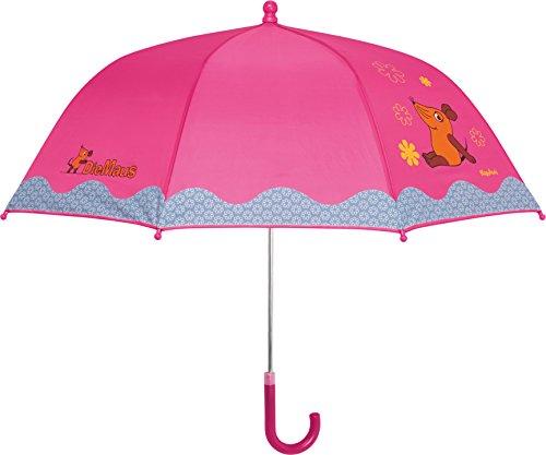 Playshoes Mädchen Regenschirm MAUS Blümchen, Die Sendung mit der MAUS, Gr. One size, Rosa (original 900)