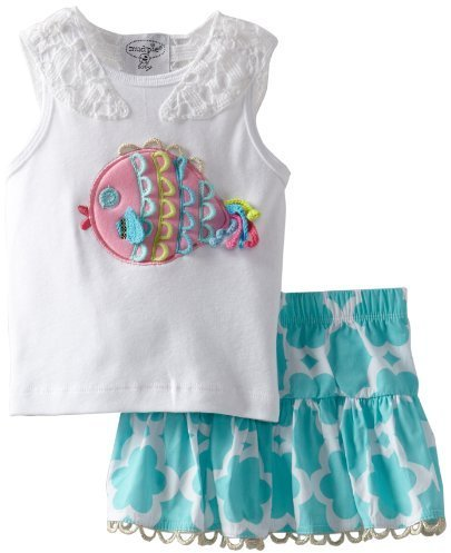 Mud Pie Little Girls' Under The Sea Skirt Set, Multi, 4T front-553920