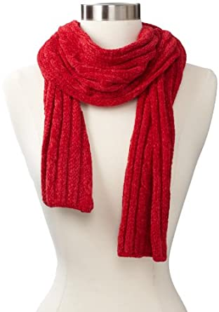 Isotoner Women's Chenille Scarf, Really Red, One Size