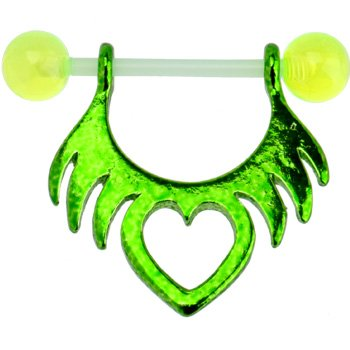 Stunning Green Bioplast Barbell Tribal Heart Nipple Shield Body Jewelry