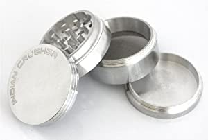 "2.0"" Lifetime Warranty* 4pc Indian Crusher, Tobacco, Herb Grinder CNC tooled from Raw Aluminum"