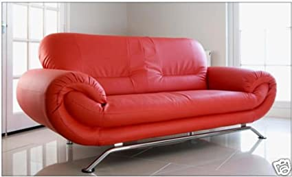 New Florenz 3-Sitzer Moderne Kunstleder Zukunft Große Sofa rot & Chrom Fuße