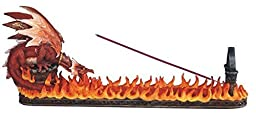 16 Inch Incense Burner/Holder with Fire and Red Dragon Figurine
