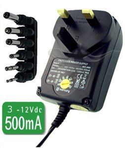 CostMad ® 6-Way 500mA max. AC to DC Universal Universelle Multi Voltage 3V / 4.5V / 6V / 7.5V / 9V / 12V Plug in Mains AC Power Adapter Adaptor Power Supply Replacement