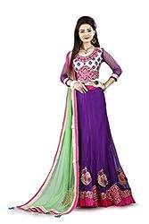 Lehenga Choli Dark Purple Colour Free Size Fully Stitched Womens Net Lehenga by Pushpila