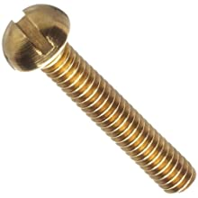"Brass Machine Screw, Round Head, Slotted Drive, #1-72, 1/4"" Length (Pack of 100)"