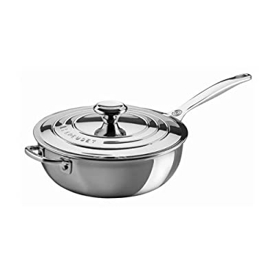 Le Creuset 3.5 qt. Stainless Steel Saucier Pan with Lid and Helper Handle