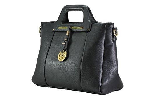 FERETI borsa a mano donna in eco pelle Nero tracolla regolabile e removibile