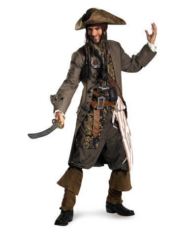 Disguise Men's Pirates Of The Caribbean-Captain Jack Sparrow Theatrical Adult Costume