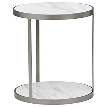 Rivet Molly Round Marble and Stainless Steel Side Table