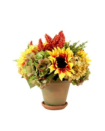 Creative Displays Fall Garden Terra Cotta Planter, Yellow/Orange/Green