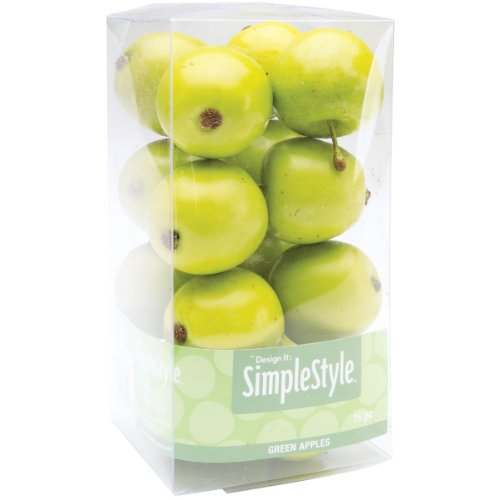 FloraCraft SimpleStyle 15-Piece Mini Decorative Fruit, Green Apple
