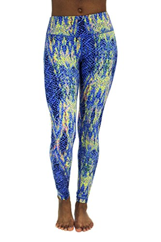 90 Degree By Reflex - Peachskin Brushed Printed Leggings - Yoga Pants - Print 249 KOI Blue L