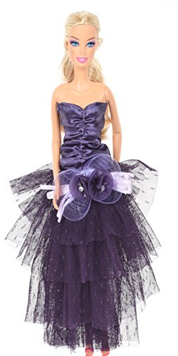 Banana Kong Graceful Doll's Mesh Layered Strapless Purple Evening Dress