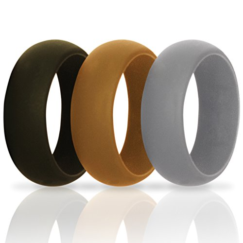 Silicone Wedding Ring for Men - Unique Gifts for Birthday or Anniversary From Vitalius. Silicone Wedding Bands - Gift Set of 3 Rings - Black, Gray and Brown