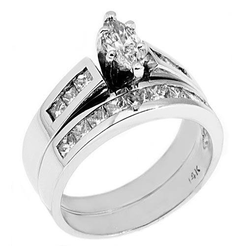 14k White Gold 1.25 Carats Marquise Princess