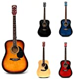 RayGar Sunburst 41'' 4/4 Full Size Acoustic Guitar Package Pack Outfit Beginner Dreadnought Steel String - Includes Strap, bag, Set of strings, pick, pitch pipe and FREE DVD *NEW* (Sunburst)