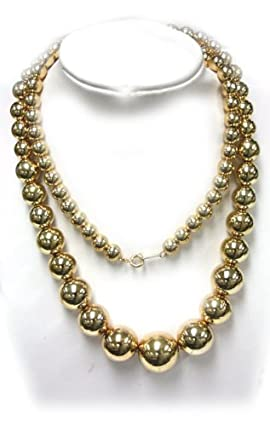 Gold Plated Circular Bead Necklace - Faux Gold Chain Necklace (1 Piece)
