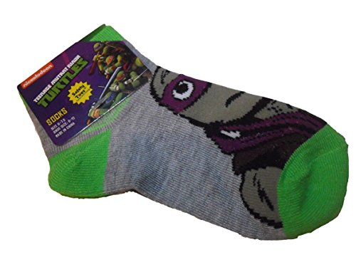 Teenage Mutant Ninja Turtles TMNT Grey Green Donatello Donnie 5-8 Boy Toddler Sock
