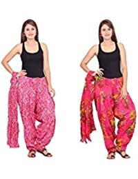 Rama Set Of 2 Floral Print Pink Colour Cotton Full Patiala With Dupatta Set