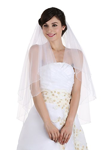 2T 2 Tier Beaded Edge Bridal Wedding Veil - White Fingertip Length 36