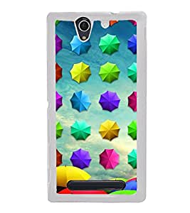 Colourful Umbrellas Pattern 2D Hard Polycarbonate Designer Back Case Cover for Sony Xperia C4 Dual :: Sony Xperia C4 Dual E5333 E5343 E5363