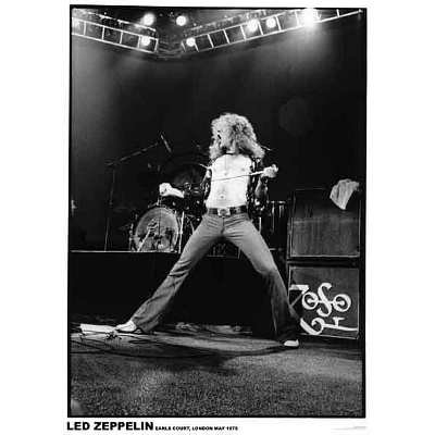 Led Zeppelin - Earls Court London 1975 Music Poster - 24X36 Custom Fit With Richandframous Black 24 Inch Poster Hangers