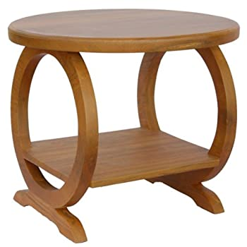 Cheap Exp Handmade Asian Furniture 24 Inch Round Wood Cocktail Coffee Table With Shelf And