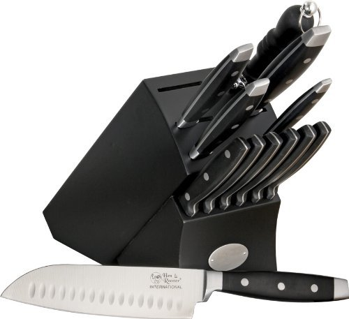 Hen & Rooster Knives I028 13 Piece Kitchen Knife Set with Black Composition Handles
