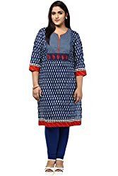 Alto Moda by Pantaloons Womens Cotton Kurta Indigo_2