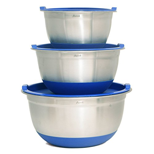 Aarrt Heavy Duty Large Stainless Steel Bowls with Lids, Silicone Bottom Bowls, and Volume Measurements
