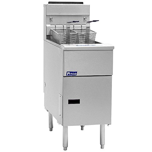 Natural Gas Pitco SG14-S 40 - 50 lb. Stainless Steel Floor Fryer - 4 Tubes, 110,000 BTU (Pitco Deep Fryer compare prices)