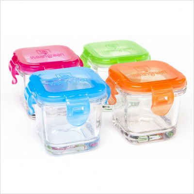 Glass Baby Food Containers with Multi Lid Colors