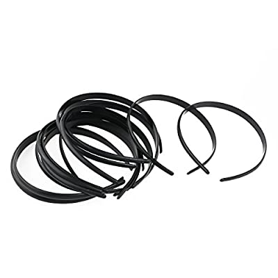 Tinksky 12pcs Womens Girls Plain No Teeth Plastic DIY Hair Bands Headbands Headwears (Black)