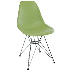 LexMod Plastic Side Chair in Green with Wire Base