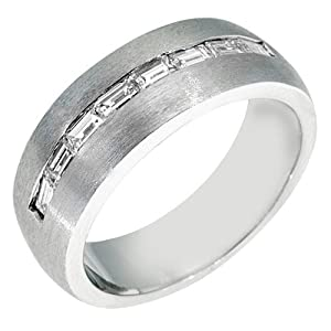 14k White Gold Mens Baguette Cut Channel Set Diamond Ring 1 Carat