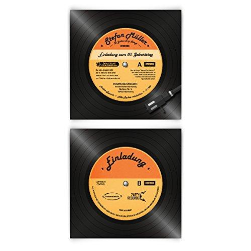 kaufen Einladungskarten zum Geburtstag (20 Stück) als Schallplatte Vinyl LP CD Musik Scheibe