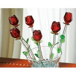 red bouquet 6 glass roses with green leaves