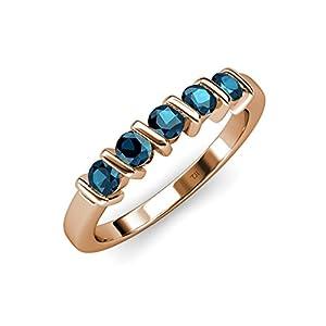 Blue Diamond 5 Stone Bar Set Wedding Band 0.75 ct tw in 14K Rose Gold