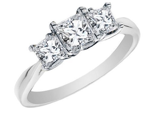 Princess Cut Diamond Engagement Ring and Three Stone Anniversary Ring 1 Carat (ctw) in 14K White Gold