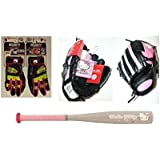 Hello Kitty Baseball Bundle: Easton Hello Kitty Bat, Hello Kitty Mitt, And Franklin Batting Gloves (3 Piece Set)