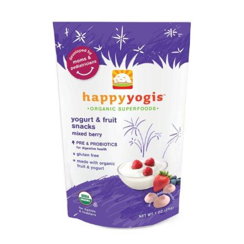 Happy Baby Organic Yogurt Snacks for Babies & Toddlers, 3 pack - Banana Mango, Mixed Berry & Strawberry 3 oz