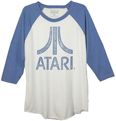 Atari Distressed Logo Adult Baseball Raglan T-Shirt (Adult Large)