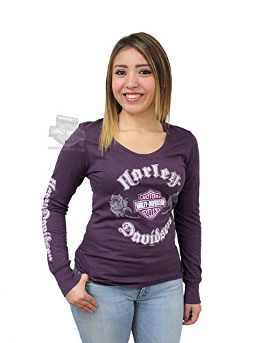 Harley-Davidson Womens Rose Crystal B&S Purple Long Sleeve T-Shirt - 1X