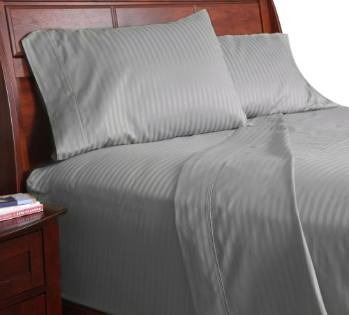 Lavish Home 300 Thread Count Cotton Sateen Sheet Set, Twin X-Large, Gray front-767711