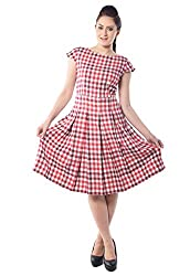 iamme Box Pleat, Knee Length check dress in red and White
