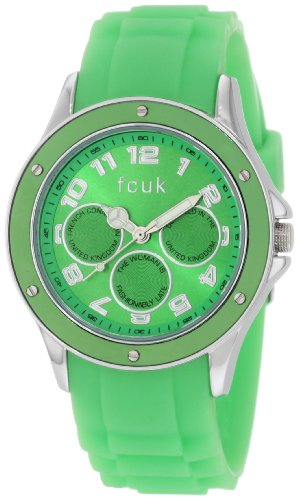 French Connection Ladies Watch Analogue With Green Silicone Strap FC1102NN