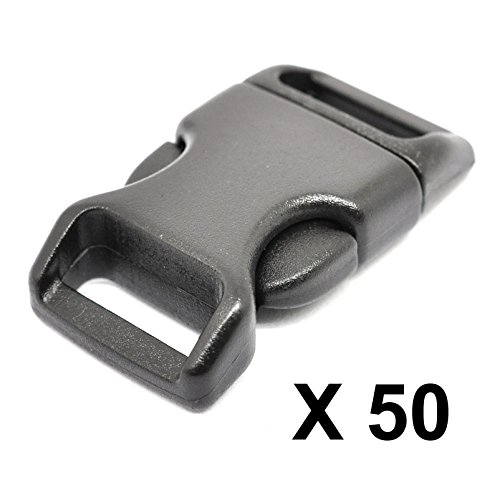 """LIHAO 50 PCS 5/8"""" Black Plastic Side Release Buckle for Paracord Bracelets (High Quality)"""